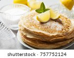 Small photo of English-style pancakes with lemon and sugar, traditional for Shrove Tuesday