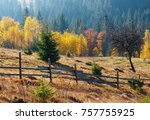 morning autumn slopes  with... | Shutterstock . vector #757755925