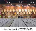 old wood table with blurred... | Shutterstock . vector #757756459