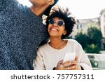 young multiethnic couple... | Shutterstock . vector #757757311