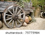 Old Wooden Cart With Clay Pots...