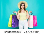 young happy summer shopping... | Shutterstock . vector #757764484