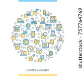 logistic and delivery banner.... | Shutterstock .eps vector #757764769