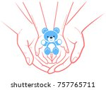 concept of child protection ... | Shutterstock .eps vector #757765711