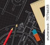 vector technical blueprint of... | Shutterstock .eps vector #757766155