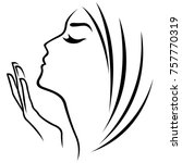female head and hand abstract... | Shutterstock .eps vector #757770319