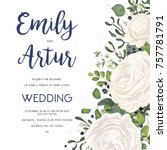 wedding invitation invite card... | Shutterstock .eps vector #757781791