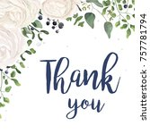 vector floral card design with... | Shutterstock .eps vector #757781794