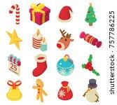 christmas icons set. isometric... | Shutterstock .eps vector #757786225
