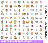 100 consumer goods icons set....   Shutterstock .eps vector #757786741