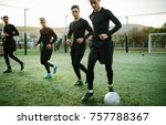 football players training in... | Shutterstock . vector #757788367