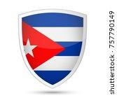 cuba flag vector shield icon  ... | Shutterstock .eps vector #757790149