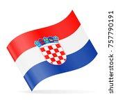 croatia flag vector waving icon ...   Shutterstock .eps vector #757790191