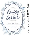 wedding invite  invitation ... | Shutterstock .eps vector #757791964