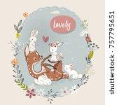 cute summer deer with hares   Shutterstock .eps vector #757795651