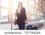 pretty smiling female flight... | Shutterstock . vector #757796269