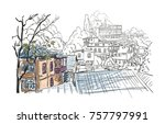 sketch of tbilisi old town... | Shutterstock .eps vector #757797991