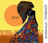 beautiful african woman in a... | Shutterstock .eps vector #757800157