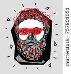 modern sculpture. t shirt... | Shutterstock .eps vector #757801051