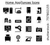 appliance icon set vector... | Shutterstock .eps vector #757802155