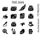 mail icon set vector... | Shutterstock .eps vector #757802431