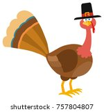 thanksgiving turkey bird with... | Shutterstock . vector #757804807