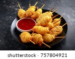 juicy king prawns wrapped in... | Shutterstock . vector #757804921