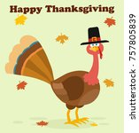 thanksgiving turkey bird with...   Shutterstock . vector #757805839