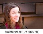 a beautiful woman outside in... | Shutterstock . vector #75780778