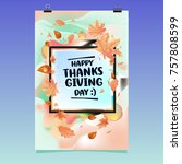 happy thanksgiving vector... | Shutterstock .eps vector #757808599