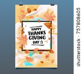 happy thanksgiving vector... | Shutterstock .eps vector #757808605