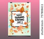 happy thanksgiving vector... | Shutterstock .eps vector #757808611