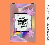 happy thanksgiving vector... | Shutterstock .eps vector #757808719