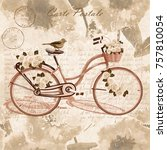 vintage  bicycle poster. | Shutterstock .eps vector #757810054