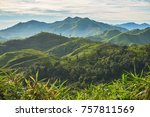 sky  mountain and forest in... | Shutterstock . vector #757811569