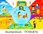 the painting of child under 5... | Shutterstock . vector #75781876