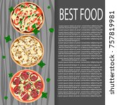 background with pizza and area... | Shutterstock .eps vector #757819981