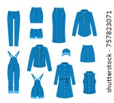denim clothes flat icons.... | Shutterstock . vector #757823071