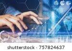 concept of virtual diagram... | Shutterstock . vector #757824637