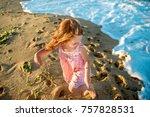 beautiful little girl in a... | Shutterstock . vector #757828531