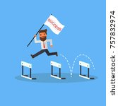 businessman with flag success... | Shutterstock .eps vector #757832974