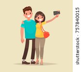 happy couple are take selfie.... | Shutterstock .eps vector #757840015