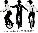 man riding a unicycle   vector | Shutterstock .eps vector #757850425
