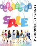sale. group of shopping women... | Shutterstock . vector #757853251