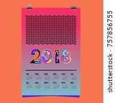 vector calendar 2018 design... | Shutterstock .eps vector #757856755