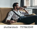 feeling lonely. thoughtful... | Shutterstock . vector #757863349
