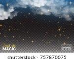 night sky magic stars and cloud.... | Shutterstock .eps vector #757870075