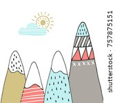cute hand drawn nursery poster...   Shutterstock .eps vector #757875151