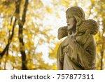 ancient statue of jesus christ... | Shutterstock . vector #757877311
