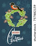 merry christmas greeting card... | Shutterstock .eps vector #757882159